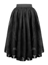 Victorian Gothic Double Mesh Layered Organza Outer Elastic Band High-waisted Skirt