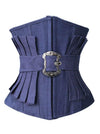 Women's Fashion Denim Effect Pleated Waist Training Underbust Corset