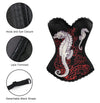 Women's Seahorse Print Rock N Roll Fashion Boned Bustier Corset Top