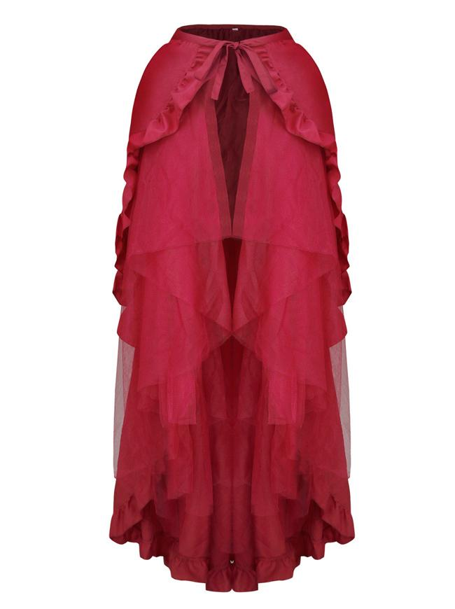 Retro Multi-layered Mesh and Ruffle Asymmetrical Cosplay Wine Skirt
