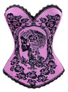 Women's Rose Skull Print Rock N Roll Fashion Boned Bustier Corset Top