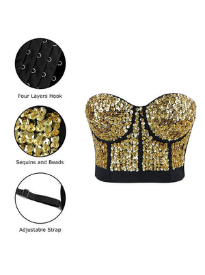 Gold  Beaded Sequins Push Up Crop Top Bustier Bra