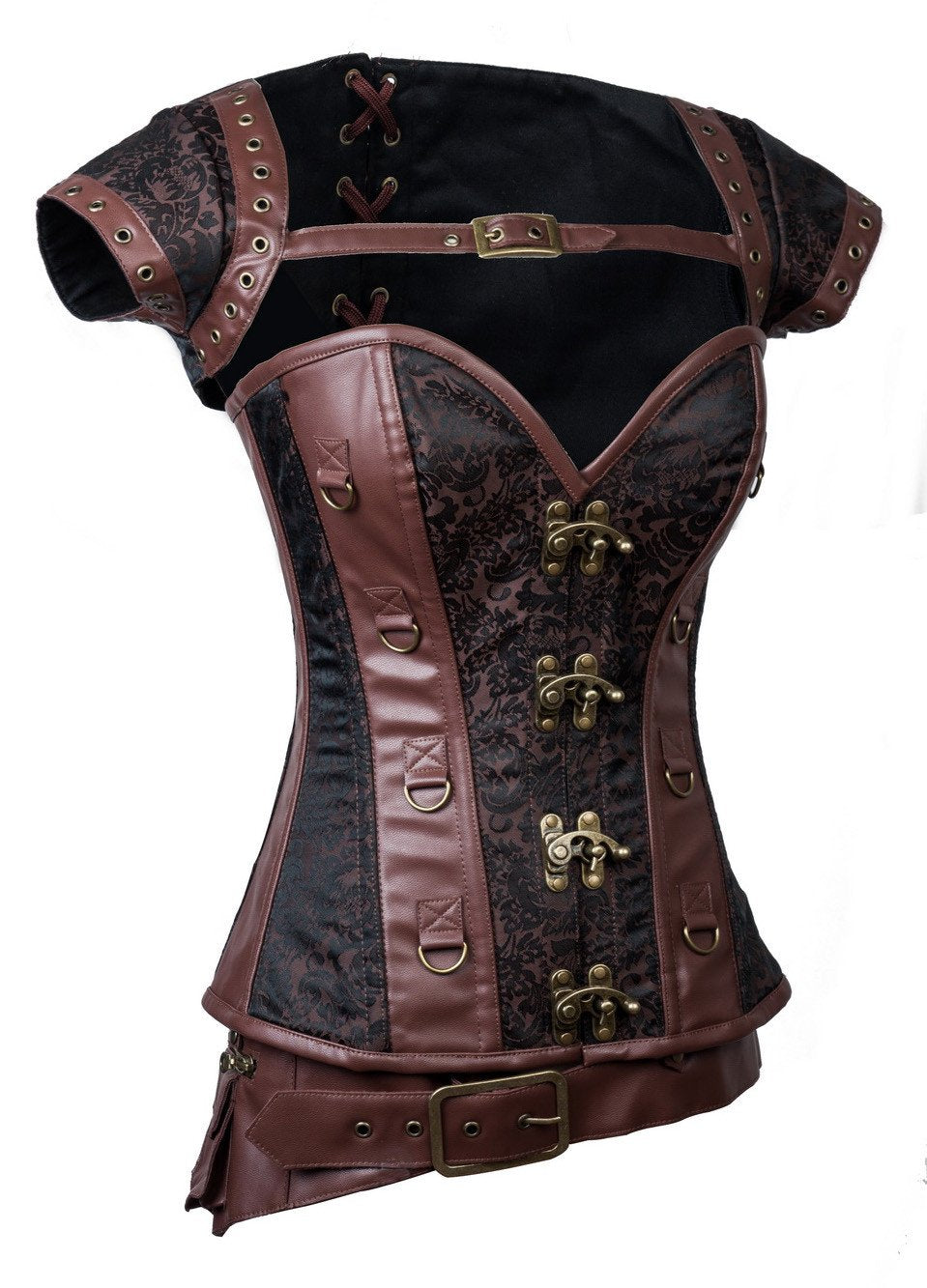 Women's Steampunk Jacquard Steel Boned Busk Corset with Jacket and belt