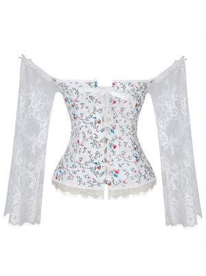 Gothic Off-Shoulder Overbust Lace Corset with Long Floral Sleeves /White Floral