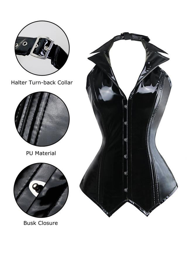 Women's Black PU Leather Rockabilly Halter Steel Boned Steampunk Bustier Vest Corset