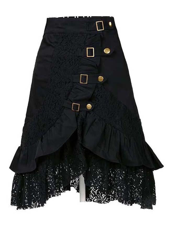 Women's Plus Size Steampunk Goth Vintage Victorian Gypsy Hippie Lace Party Skirt