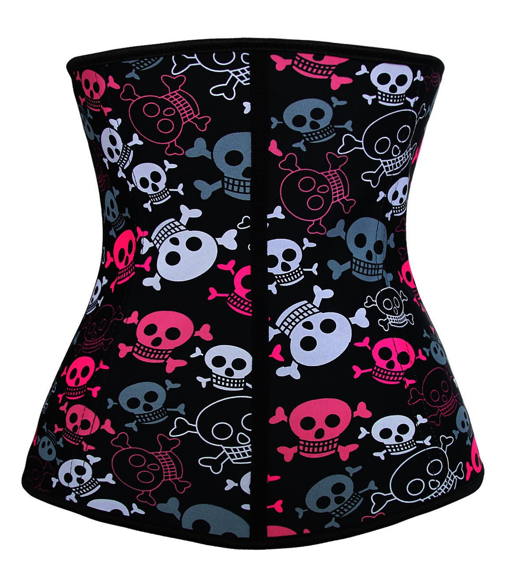 Plus Size Halloween Skulls Print 4 Steel Bones Latex Girdle Hooks Hourglass Waist Trainer