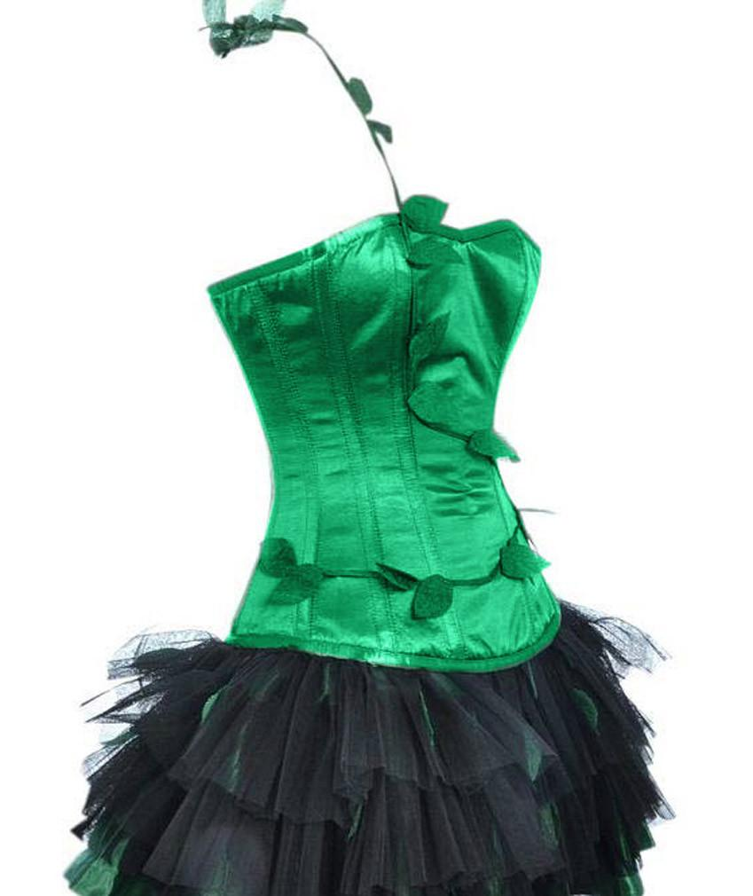 Women's Burlesque Poison Ivy Costume Halloween Costume Corset with Skirt