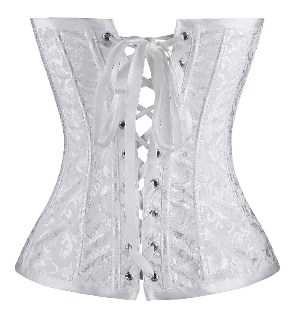Vintage Palace Jacquard Wedding Bride Body Shaper Strapless Overbust Corset