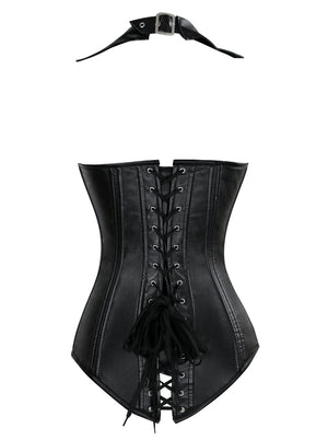 Steampunk Spiral Steel Boned Halter Faux Leather Vest Top Rock Corset Bustier