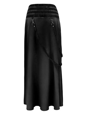 Women's Steampunk Gothic Victorian Ruffled Satin High Waisted Skirts