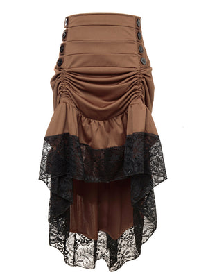 Gothic Victorian Punk Vintage Brown High Waist Lace Trim Good Elasticity Ruffled High-low Skirt