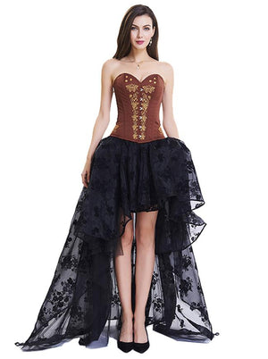 Victorian Brown Vintage Floral Embroidery Steel Boned Corset High-low Skirt Set