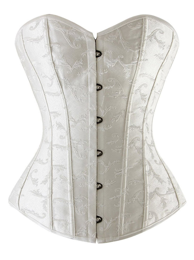 Women's Satin Bridal Embroidery Overbust Boned Wedding Dress Bustier Corset Top