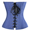 Fashion Retro Navy Blue Buckle Style Denim Strapless Overbust Corset with Pockets