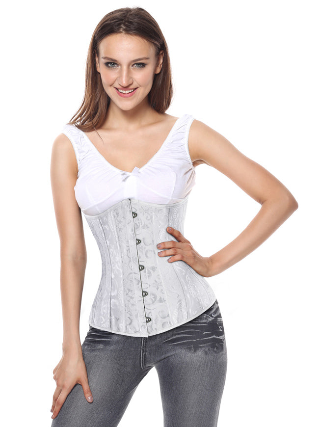 White Heavy Duty Spiral Steel Boned Plus Size Underbust Corset for Waist Training Cinhcer