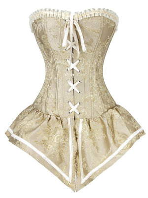Gothic Retro Royal Yellow Jacquard Brocade Lace-up Overbust Corset Oytwear