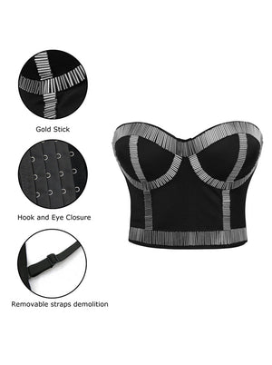 Women's Punk Metallic Stick Clubwear Party Bustier Bra Crop Top