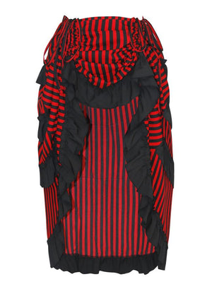 Victorian Steampunk Gothic Irregular High-low Ruffle Skirt /Black and Red Stripes