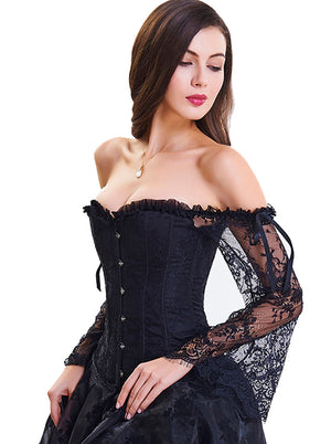 Gothic Off-Shoulder Overbust Lace Corset with Long Floral Sleeves /Black