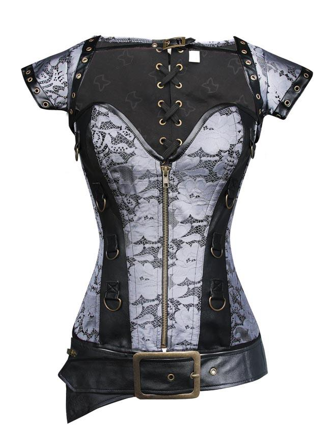 Spiral Steel Boned Brocade Steampunk Corset Bustier with Jacket and Belt