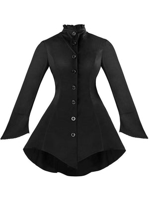 Women's Gothic Vintage High Neck Long Sleeve Button Down Jacket Coat