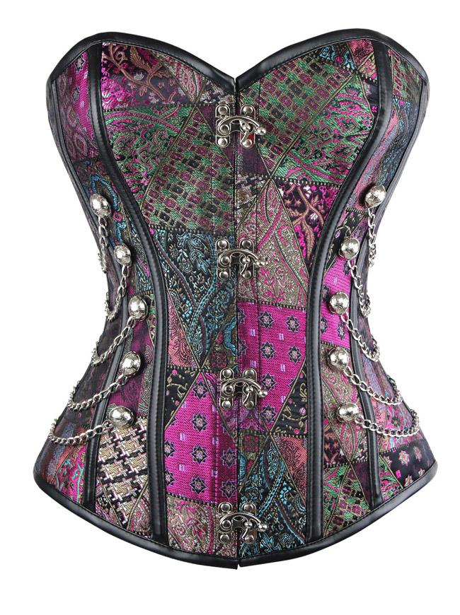 Plus Size Steampunk Gothic Spiral Steel Boned Brocade Overbust Corset with Chains
