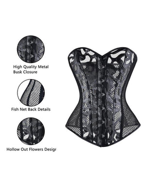 Plus Size Gothic Punk Sexy Mesh Bustier Halloween Party Costume Black Corset Shapewear