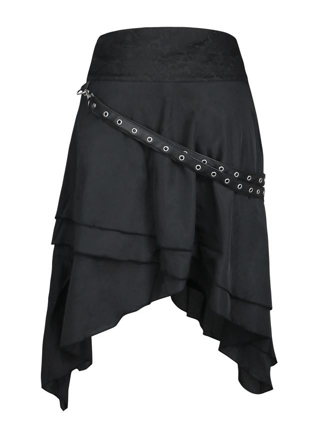 Steampunk Multi-layered Asymmetrical Hemline High Waist Black Skirt with PU Pocket Belt