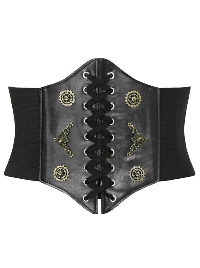 Steampunk Leather Bronze Metal Wheel Gear Front Lace Up High Waist Cincher Corset Belt -Black