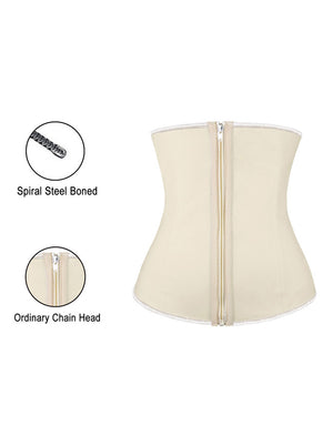 Plus Size 4 Steel Bones Zipper Latex Hourglass Waist Trainer Underbust Corset