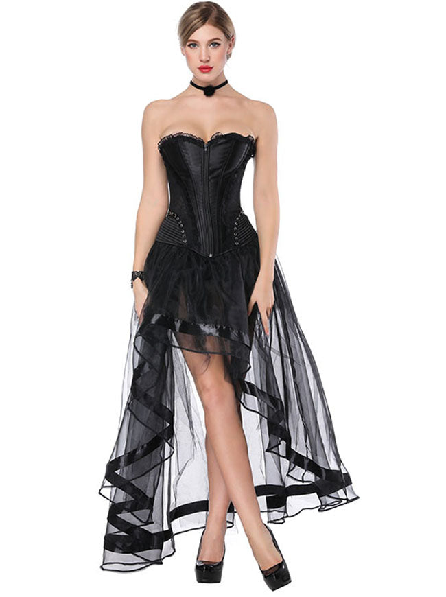 Black Victorian Satin Plastic Boned Overbust Corset High-low Organza Tutu Skirt Set