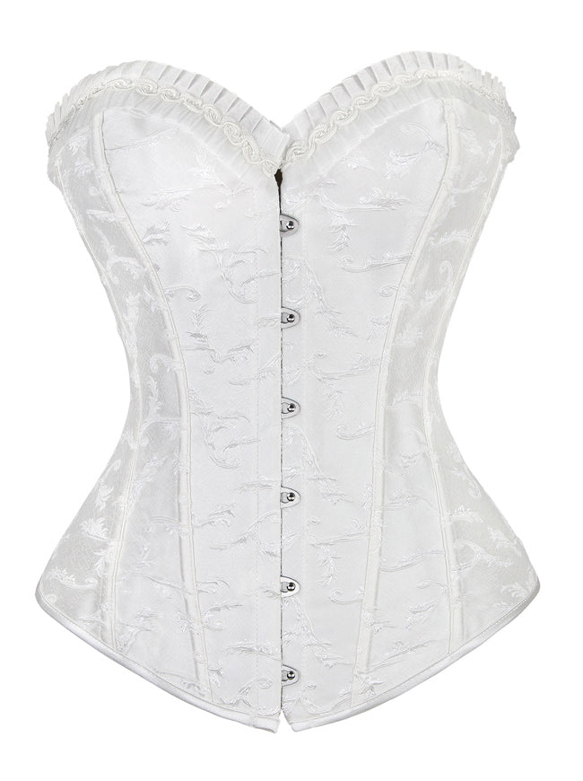 Women's Gothic Vintage Floral Embroidery Boned Overbust Corset Top