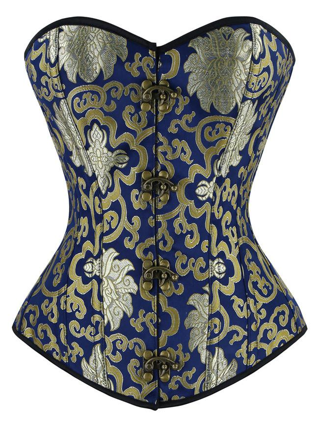 Vintage Spiral Steel Boned Embroided Pattern Boby Shaper Overbust Corset