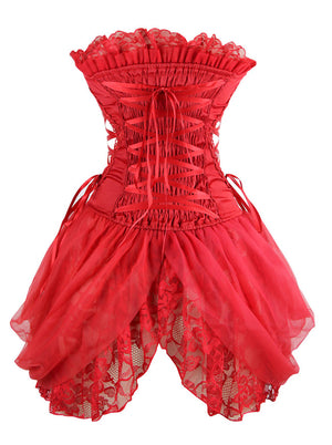 Women's Sexy Strapless Floral Embroidery Gothic Corset with Lace Skirt