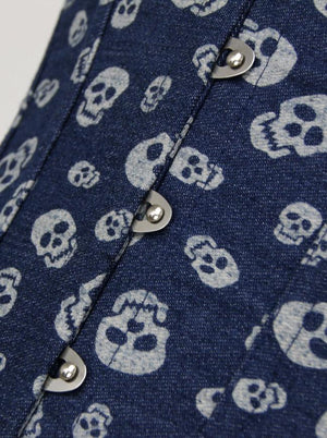 Halterneck Skull Printed Overbust Denim Corset with Faux Leather Waist Bag