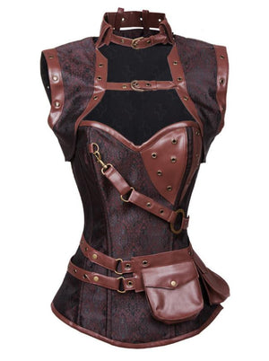 Steampunk  Spiral Steel Boned Brocade Dark-Brown Corset with Jacket and Belt