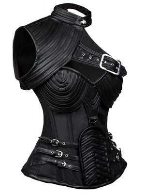 Heavy Duty Black Steampunk Steel Boned Faux Leather Overbust Corset
