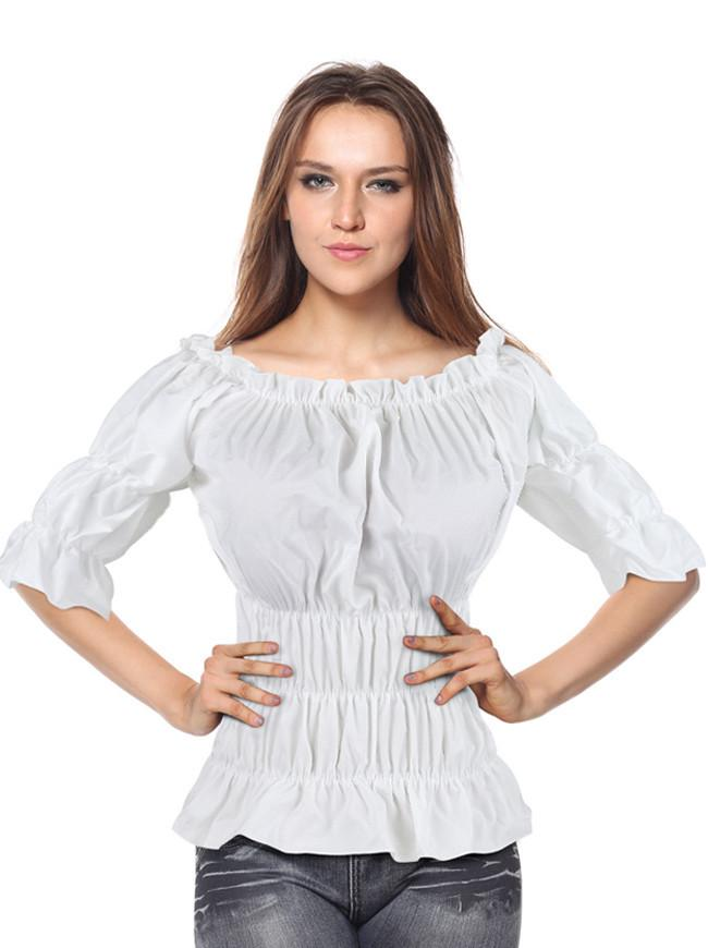 Women's Off Shoulder Short Sleeves Ruffles Blouse Shirt Crop Top