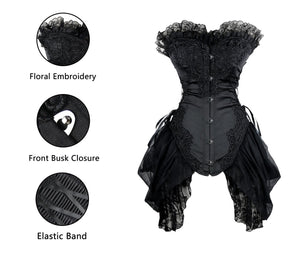 Gothic Floral Embroidery Mesh Princess Bustier Corset with Lace Skirt Black