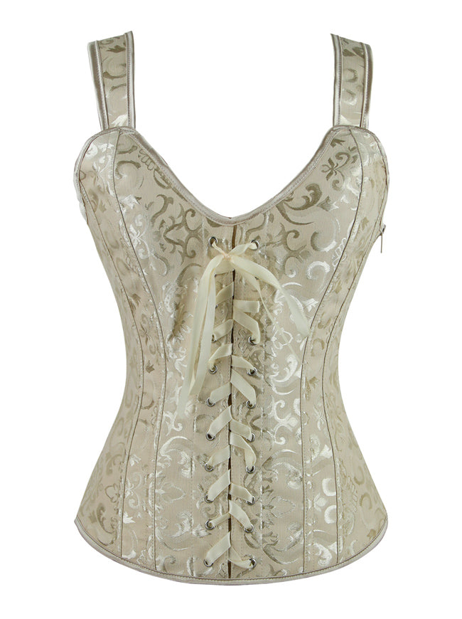 Women's Lace-up Renaissance Brocade Boned Busiter Corset with Straps