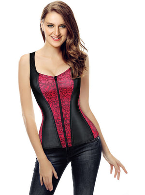 Women's Burlesque Satin Jacquard Shoulder Strap Tank Body Shaper Overbust Corset