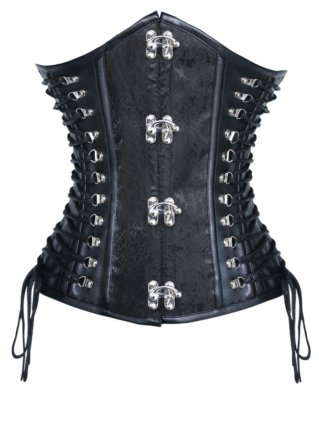 Steampunk Vintage PU Jacquard Spiral Steel Boned Lace Up Side Plus Size Corset