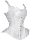 Victorian White  Wide Shoulder Straps Plastic Bone Jacquard Over-bust Corset