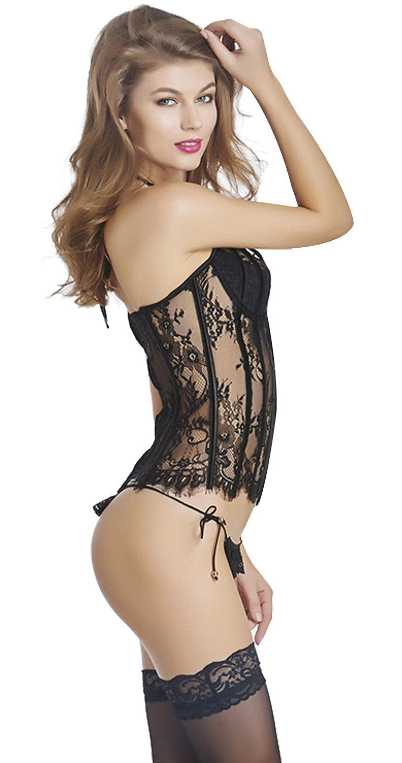 Plus Size Seethrough Floral Lace Halter Overbust Corset Bustier Lingerie with Garter Belts