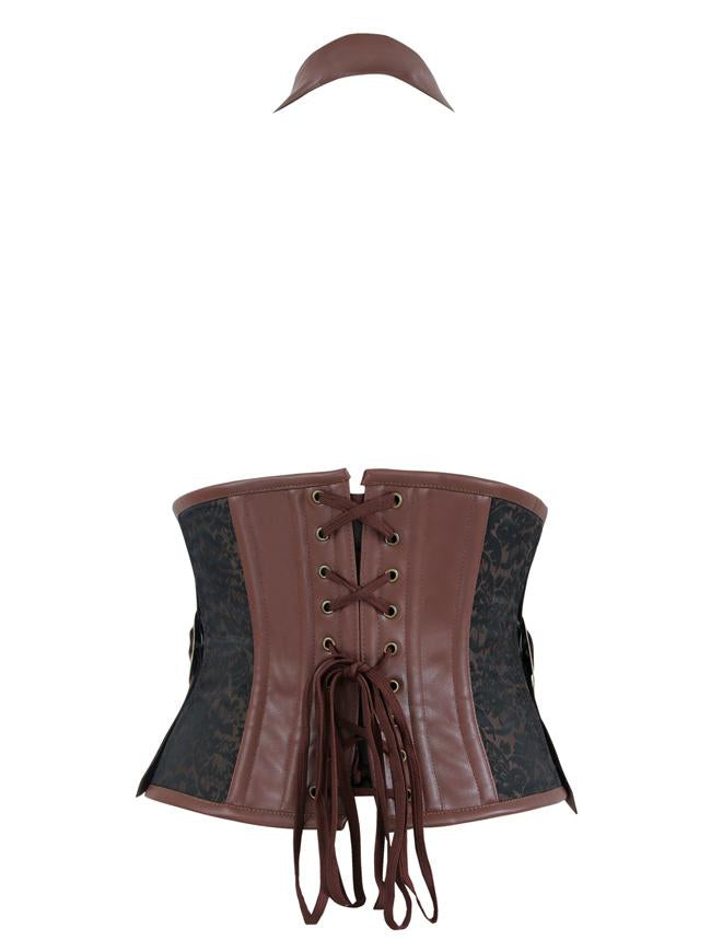 Men's Steampunk Retro Brown Brocade Halter Underbust Cosplay Corset