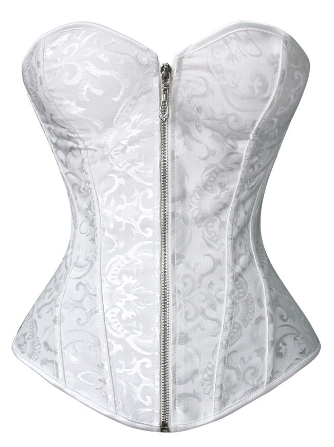 Elegant Classical White Jacquard Strapless Bride Bustier Overbust Corset