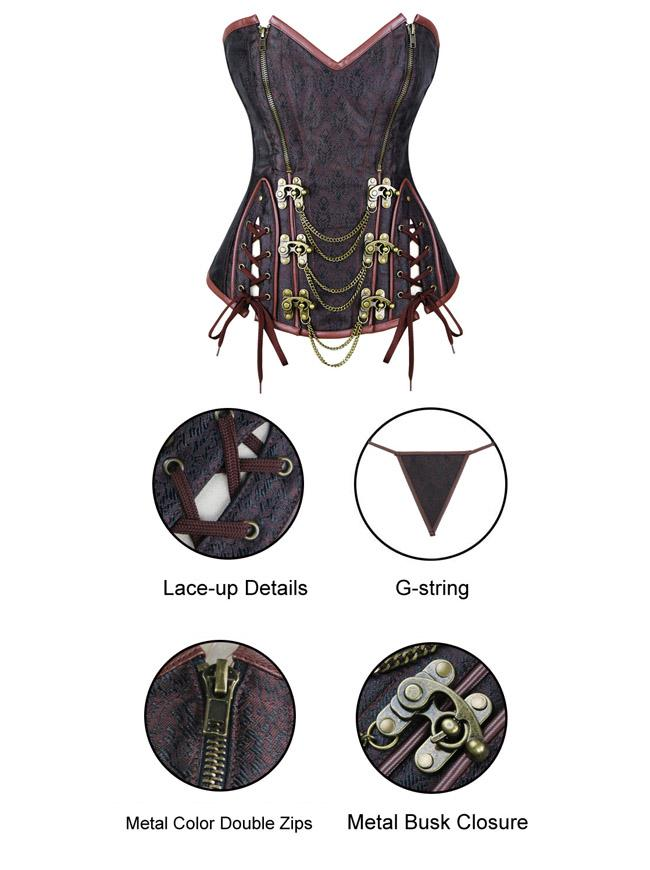 Steel Boned Steampunk Vintage Retro Brocade Zipper Overbust Corset Bustier Top