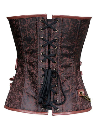 Women's Steampunk Victorian Spiral Steel Boned Brocade Belt Corset