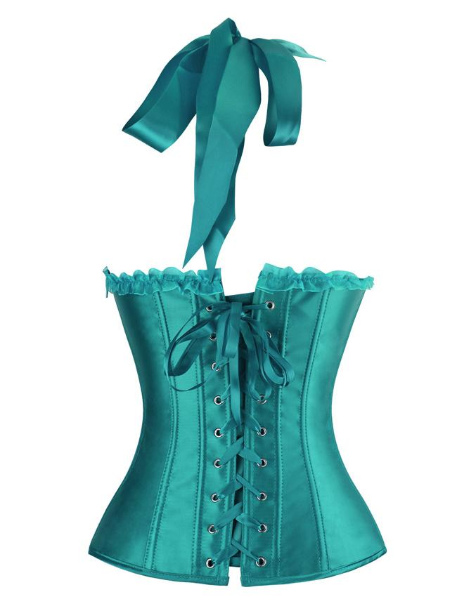 Burlesque Vintage Satin Halter Green Bustier Corset Top with Lace